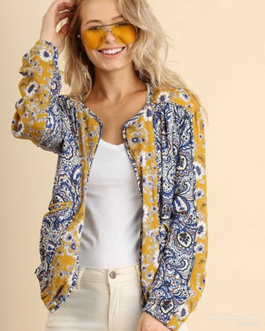 Mustard and Royal Blue Paisley Print Spring Layering Jacket