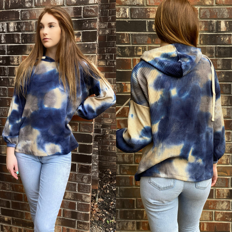 Girl Wearing Tie-Dye Bubble Sleeve Hoodie Fabric Is Ultra Soft Stretchy Colors Cobalt Blue ,White ,Cream, Grey USA MADE  Fits True To Size