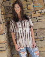 Plus Size Cream and Mocha angle cut tunic with a tie-dye pattern that covers the crew neck line. Slimming angle cut and short sleeves. USA MADE