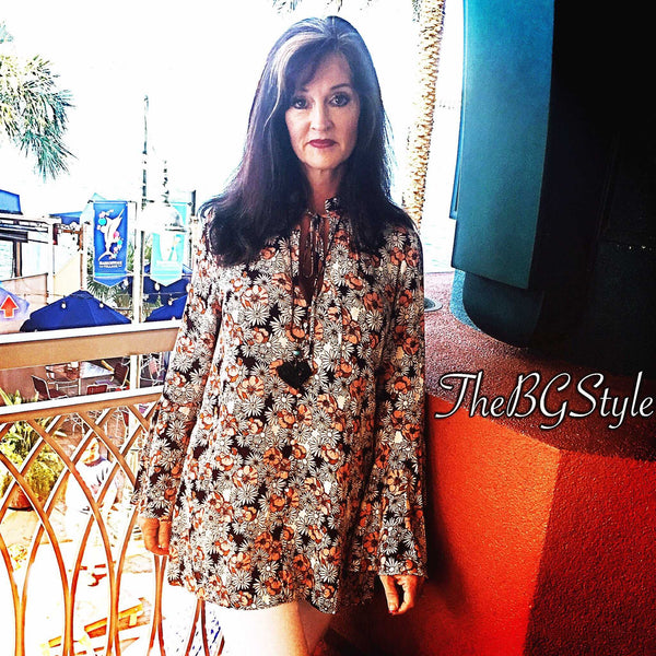 Bell Sleeve Burgundy and Coral Floral Tunic