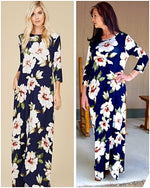 Its Autumn Navy Floral Maxi Side Pocket - TheBrownEyedGirl Boutique