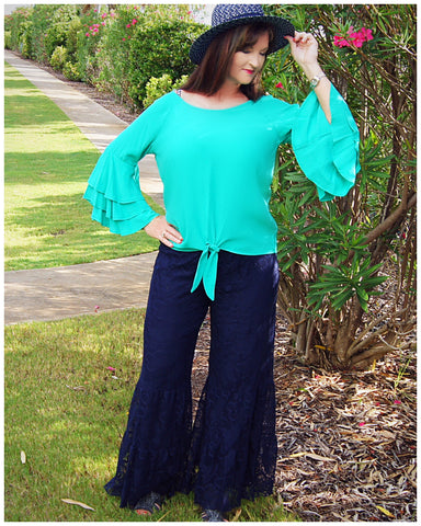 Navy Blue Lace Flare Bell Bottoms