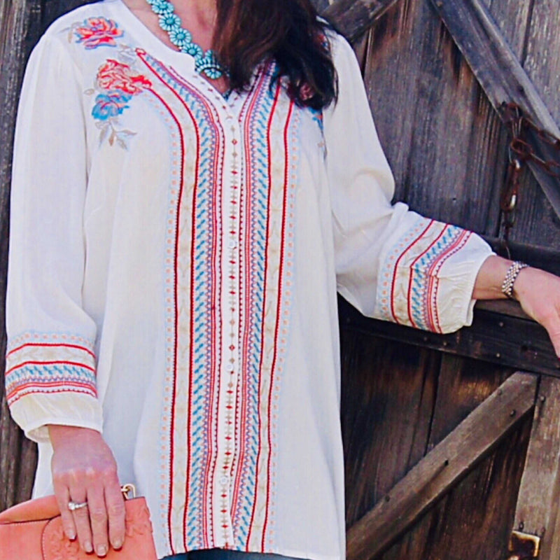Ivory Rayna Embroidered Long Sleeve Top - TheBrownEyedGirl Boutique