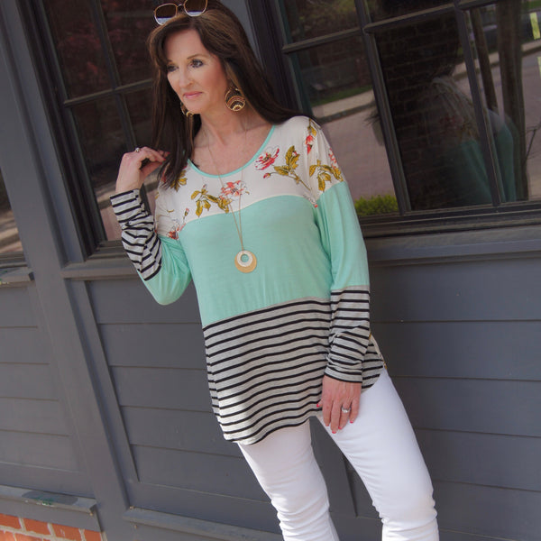 You Make Me Smile Floral Mint Color Block Top