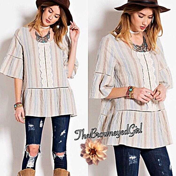 Crinkle Denim & Lace Striped Baby Doll Peasant Top