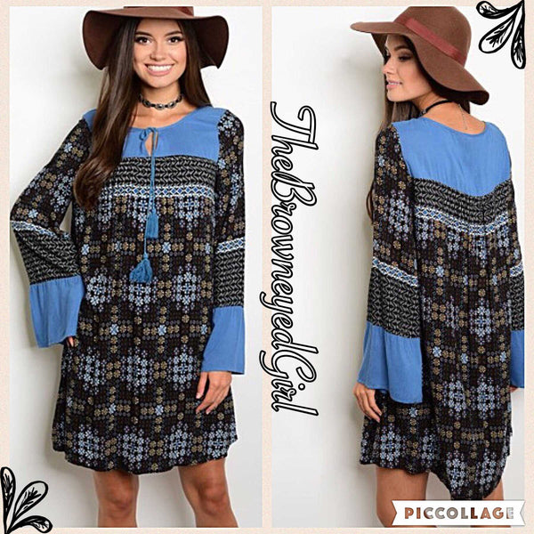 Shadows under the Moon Light Bohemian Mixed Print Dress - TheBrownEyedGirl Boutique