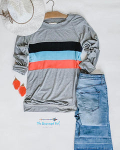 Kori Grey Retro Stripe Long Sleeve Thumbhole Top