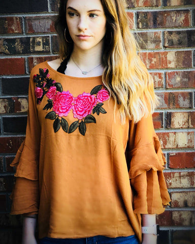 Embroidered Floral Ruffle Bell Sleeve Blouse/Top