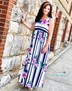 Woman Wearing Navy White Stripe Floral Maxi Dress Baby Doll Style Material Is Ultra Soft Stretchy Fits True To Size  Thebrowneyedgirl-Boutique/Products