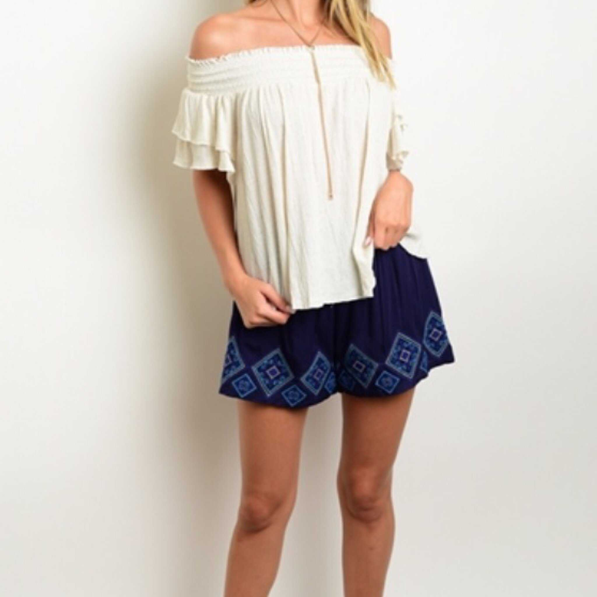 Navy Embroidered Aztec Trim Shorts Pull On