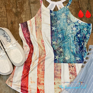 American Flag Distressed Rocker Tank
