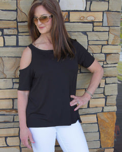 Katie Solid Black/Olive Cold Shoulder Top