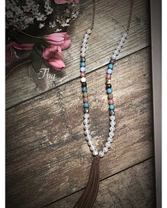 Multi Color Stone And Pearl Tassel Necklace