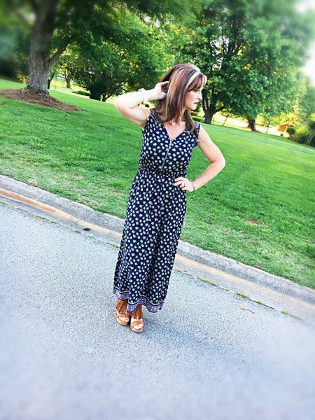 Always There For Me Navy Blue Floral Print Maxi - TheBrownEyedGirl Boutique