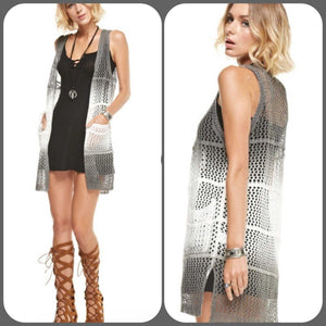 Crochet Open Ombre Vest Grey and Cream