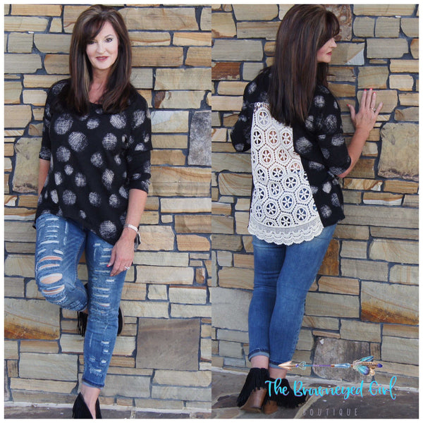 Lacy Back Brushed Knit Tunic - TheBrownEyedGirl Boutique