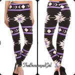 Purple and Black Aztec Print Leggings - TheBrownEyedGirl Boutique