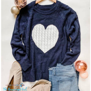 Enchanted Navy Blue Heart Sweater - TheBrownEyedGirl Boutique