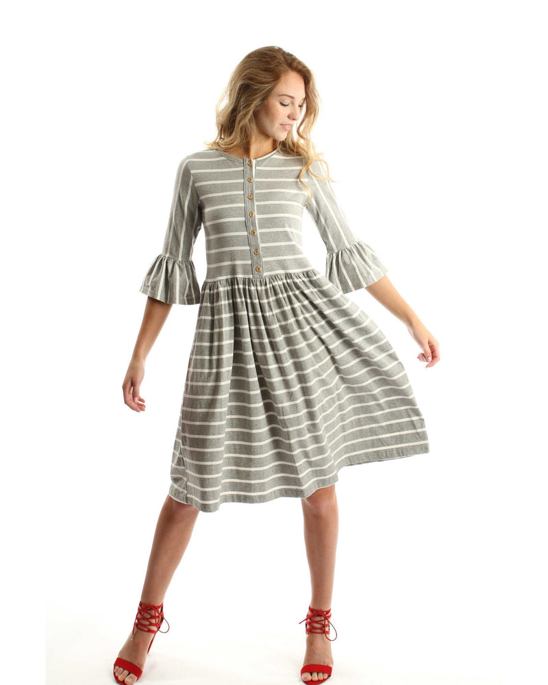 Make My Day Mocha And White Striped Dress - TheBrownEyedGirl Boutique