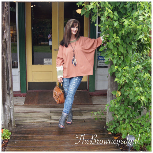 Cinnamon Spice Pin Striped Raglan Sleeve Top - TheBrownEyedGirl Boutique