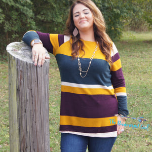 Mustard Striped Brushed Knit Sweater Soft Stretchy USA Made