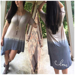 Mocha & Chambray Ombre' Hi Low Dress tunic - TheBrownEyedGirl Boutique
