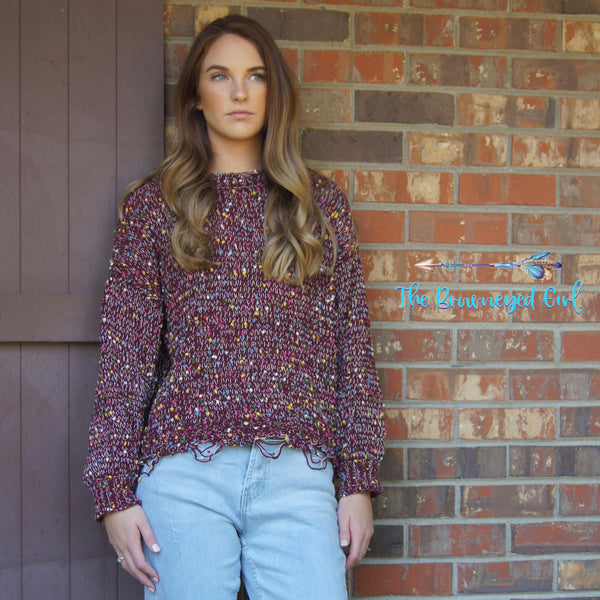 Plum Confetti Cropped Sweater Slightly Distressed Hem Soft Stretchy Knit Fits True To Size