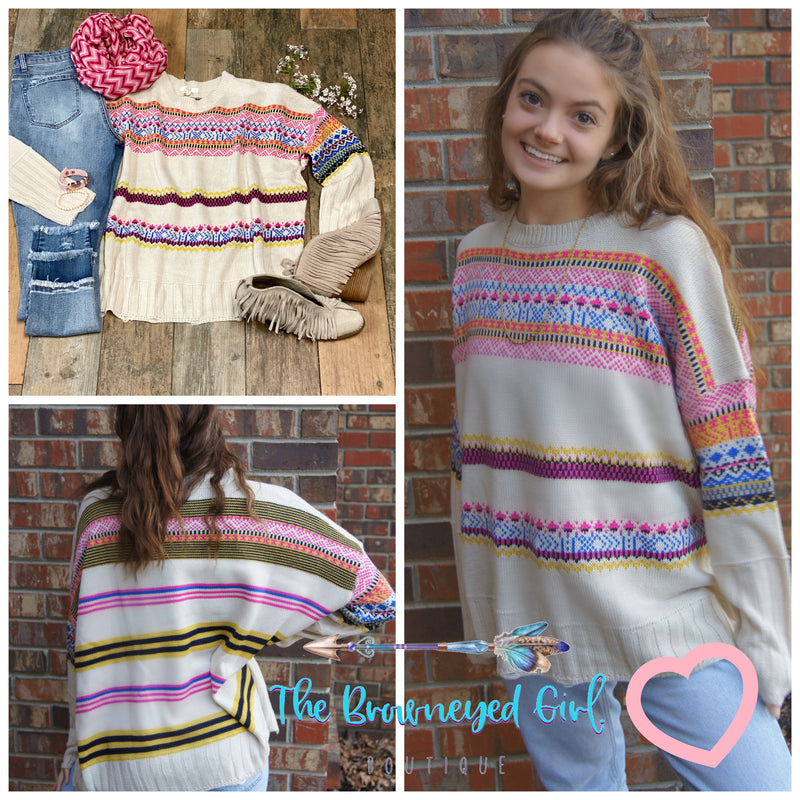 Trust Your Love Aztec Ivory Sweater - TheBrownEyedGirl Boutique