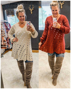 Eyelet V-Neck Solid Sweater - TheBrownEyedGirl Boutique