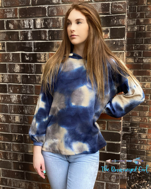 Girl Wearing A Ultra Soft Tie-Dye Hoodie Featuring Bubble Sleeves -,Ultra Soft WaffleKnit Fabric In Cobalt Blue,Cream,Grey And White Fits True To Size USA MADE