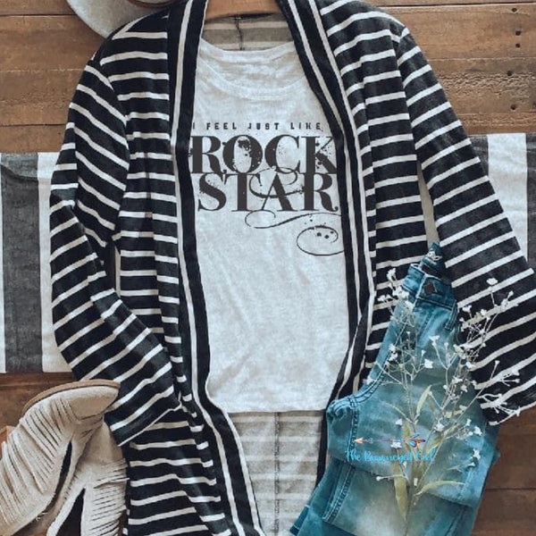 Tia Black And White French Terry Cloth Cardigan