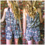 Mosaic Print Romper in Corals Sleeveless - TheBrownEyedGirl Boutique