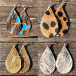 Leopard Leather Hair On Hide  Hand Made Earrings - TheBrownEyedGirl Boutique