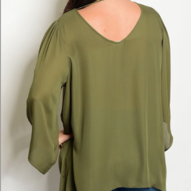 Lydia Olive Beaded V-Neck Bell Sleeve Blouse - TheBrownEyedGirl Boutique