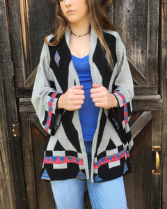 Cascading Black And Grey Cardigan Tribal Print Asymmetrical Cut Long Sleeve
