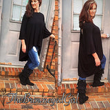 Look Back at Me Black Fit to Flare with V-Cut Out Back  3/4  Bell Sleeve - TheBrownEyedGirl Boutique