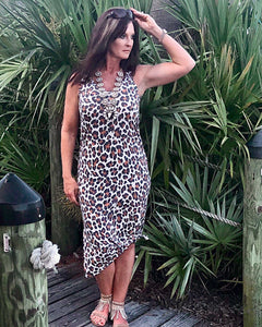Leopard Print Double V Neck Side Knot Tank Dress