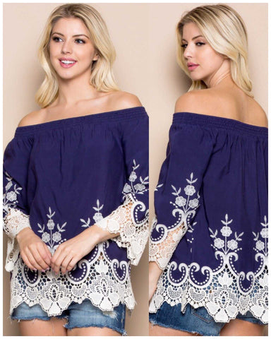 Navy Off The Shoulder Top White Lace Embellished