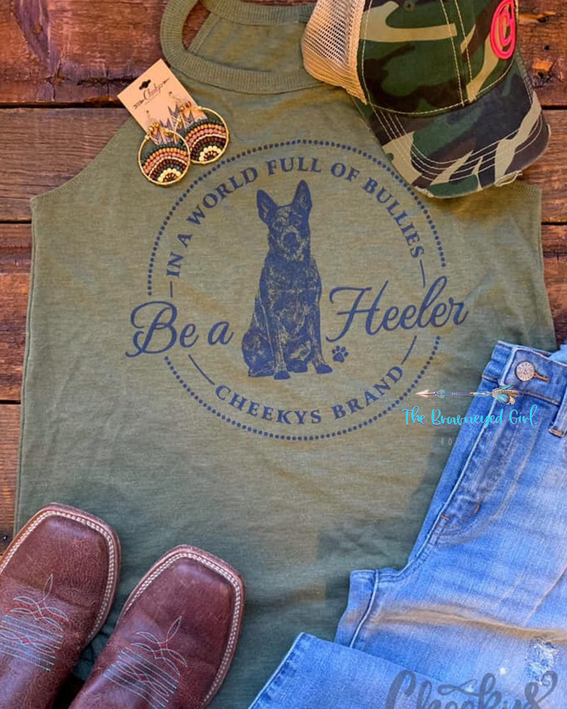Be A Heeler Olive Rocker Tank Top Fits True To Size