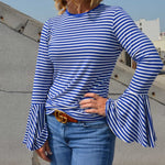 Your Favorite Boho Striped Bell Sleeve Top - TheBrownEyedGirl Boutique