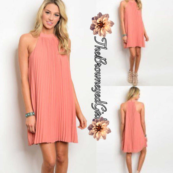 Entro Peach Dressy Casual Pleated Mini Above the Knee Halter Dress