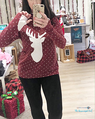 Let It Snow Thumbhole Pullover Sequin Deer Sweater With White Accented ThumbHoles