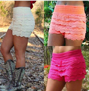 Crochet tier lace shorts jrs