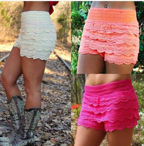 Crochet Tierd lace shorts jrs - TheBrownEyedGirl Boutique