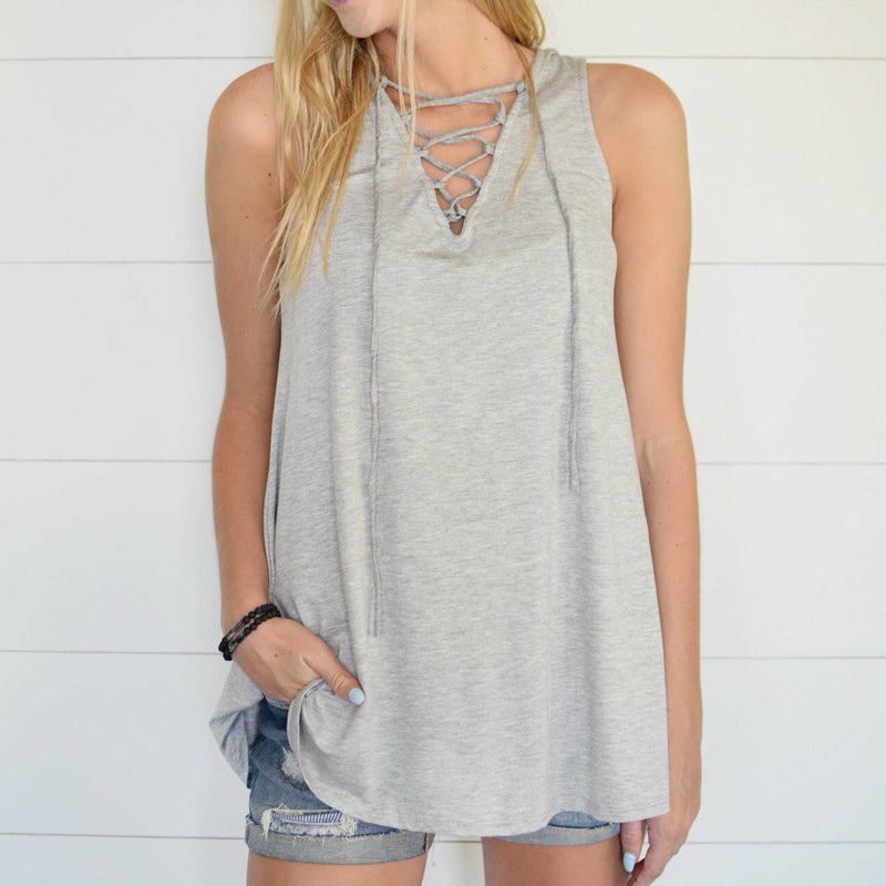 It's About Comfort Solid Lace Up Tank Top - TheBrownEyedGirl Boutique