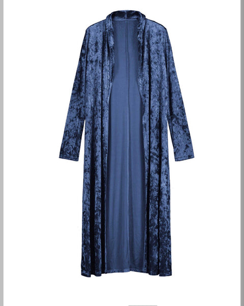 Meadow Women's Long Blue Velvet Thumb Hole Duster - TheBrownEyedGirl Boutique