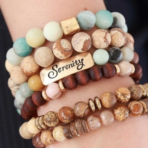 Multi color natural stone religious inspiration bracelets mothers day gift