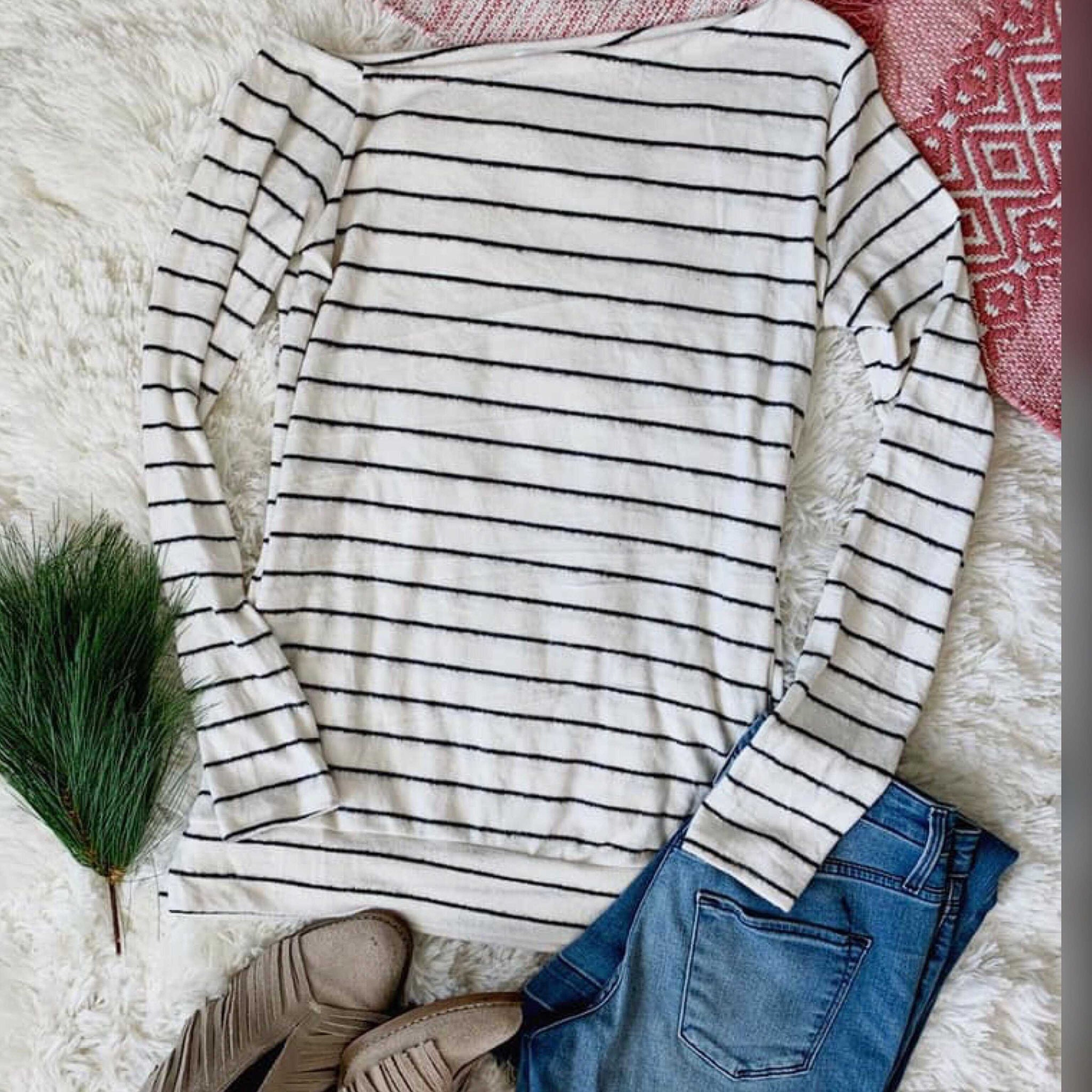 Stripe Ivory/Charcoal Brushed Knit One Shoulder Sweater - TheBrownEyedGirl Boutique