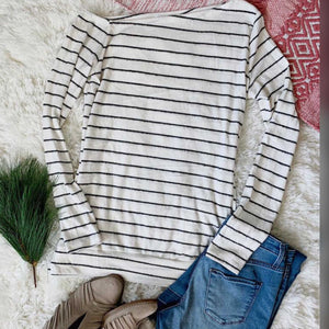 Ivory Stripe Soft Brushed Knit ThumbHole Sweater