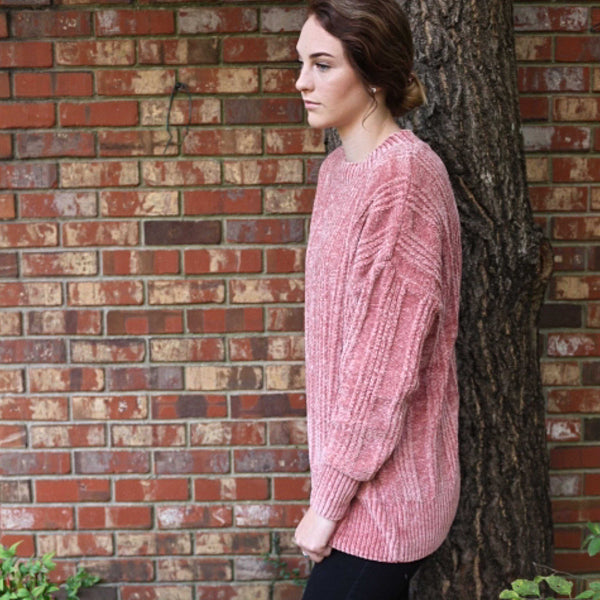 Chenille Chunky Oversized Sweater Sweet Ash Rose - TheBrownEyedGirl Boutique